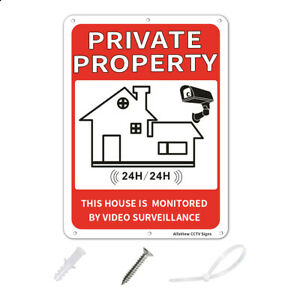 """10""""x7"""" Video Surveillance Sign,Private Property Aluminum Rust-Free Warning Sign"""