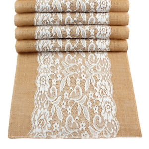 5/10× Vintage Burlap Hessian Lace Table Runner Rustic Wedding Baby Shower Decor