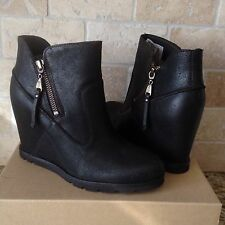UGG Myrna Lodge Brown Leather Sheepskin Wedge Ankle Boots US 6 Womens 1008715