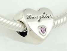 DAUGHTER HEART w Pink CZ  .925 Sterling Silver European Charm Bead