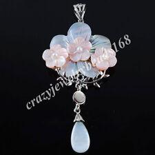 New Zelanian Abalone Shell Pearl Gem Stone Flower Bead Pendant Charm N2095