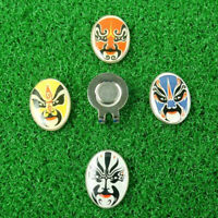 Peking Opera Mask Alloy Golf Ball Marker with Magnetic Hat Clip - Red