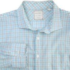 Billy Reid Button Down Long Sleeve Blue-Green Check Casual Shirt Men XL Slim Fit
