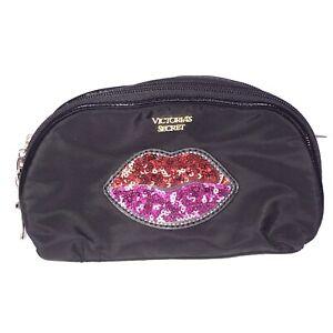 Victoria Secret Double Zipper Cosmetic Case Bag Black Nylon Red Pink Sequin Lips