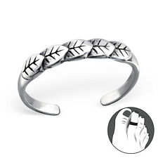 925 Sterling Silver Toe Ring Leaf Layered Leaves Adjustable Body Jewellery