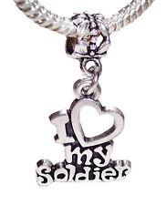 I Love My Soldier Heart Army Dangle Bead fits Silver European Charm Bracelets