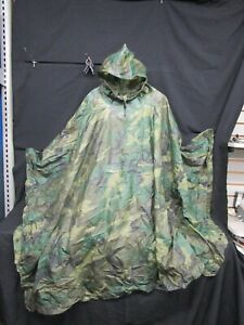 Cold War Army Multipurpose Wet Weather Poncho Woodland Camo Military Vintage