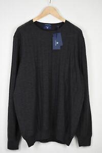 GANT Men 3X LARGE Fine Merino Wool Textured Mélange Round Neck Sweater 19019