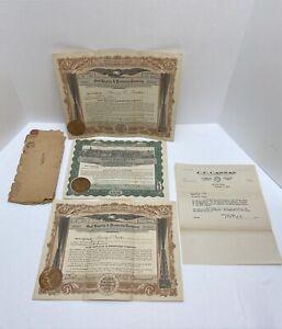 1923 Oil Stock Certificates & 1923 Washington 2c Stamp Gulf & Standard Royalty