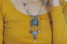 Women Silver Metal Chains Fancy Fashion Necklace Set Blue Flower Charms Pendant