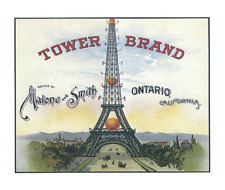Fruit Crate Label Reproduction Tower Brand Malone & Smith Ontario CA Eiffel