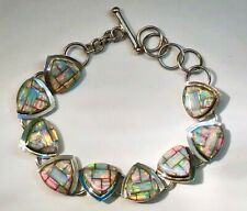 SPECTACULAR Opal Ladies bracelet 6, 7, 7.5 toggle adjustable RED Gold silver