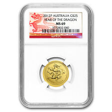 2012 AUS 1/4 oz Gold Lunar Year of the Dragon MS-69 NGC (SII)
