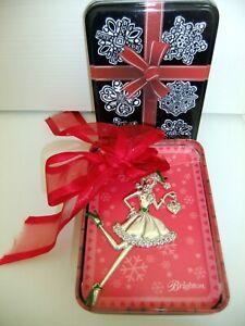 "Brighton ""Love & Joy"" Christmas Ornament - Girl in Green Santa Hat - Tin Box NIB"