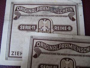 2 Prämienscheine der Reichslotterie f. Arbeitsbeschaffung, Ziehung v. 31.8.1938