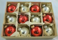 CHRISTMAS MERCURY GLASS BAUBLES VINTAGE TREE ORNAMENTS RED & SILVER BOX 12 CB39
