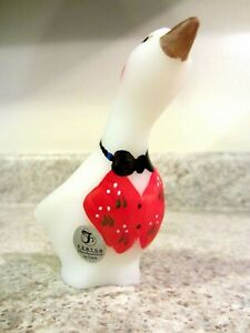 Fenton Glass Opal Satin Handpainted Goose, new