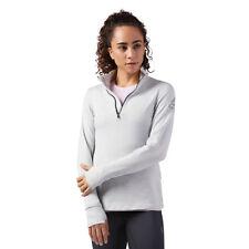 Reebok Women's Running Quarter-Zip Long Sleeve Shirt Skull Grey Size Small
