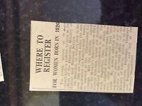 M3-8a 1941 dagenham. ww2 article women call up where to register