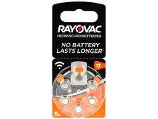 6 x Rayovac 13 Pile Batterie per Apparecchi Acustici Hearing Aid Batteries PR48