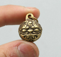 "0.9"" Curio Chinese Bronze Animal Rui Beast Head Amulet Small Bell Pendant"