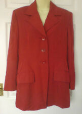 Vintage JAEGER Rusty Red Longline Fully Lined Shaped Jacket Size 12