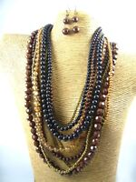 Fashion Color Beads Multi Strands Necklace Earrings Set Costume Women Jewelry