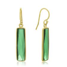 10 Carat Emerald Bar Earrings In 14 Karat Yellow Gold, 1 Inch