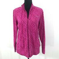 Reebok Womens Athletic Full Zip Jacket Crossfit Running Pink Print Size L Large