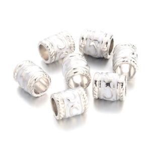100pcs Large Hole Metal Enamel European Beads Column Charms Platinum White 8.5mm