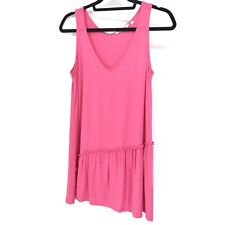 Soft Surroundings Women's Sz XS Tank Top Ruffle Hem V-Neck Loose Fit Pink Knit