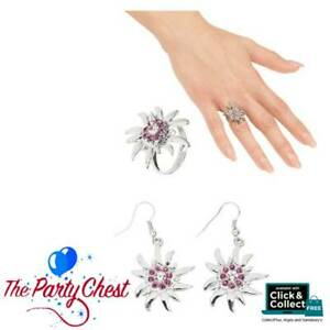 OKTOBERFEST EDELWEISS EARRINGS AND RING Clear Pink Strass Crystal Bavarian Set