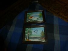 """Vintage MOUNTAIN FARM NATURE Acrylic Painting Set Of 2 Small 4 1/4"""" X 5 1/4"""" VG"""