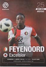 Programma / Programme Feyenoord Rotterdam v Excelsior Rotterdam 01-04-2018