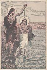 C2521 Battesimo di Gesù Cristo - Stampa d'epoca - 1942 old print