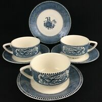 VTG Set of 3 Cups and 4 Saucers Currier & Ives Blue Royal China Blue Steamboat