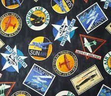 Aviator BTY Dan Morris Quilting Treasures Airlines Vintage Prop Planes Ads Black