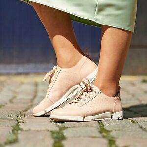 New Clarks Tri Amelia Edge Blush Pink Leather Trigenic Shoes Flat Size UK 4.5 D