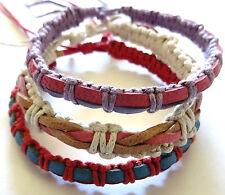 Lot de 3 Bracelet Brésilien Amitié Bonheur Cuir Coton Friendship violet rose