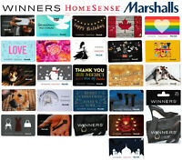 gift cards WINNERS MARCHALLS HOMESENCE collectible Canada TJX Birthday Shirt