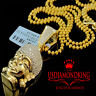 Diamond Buddha Pendant Mens 10K Yellow Gold Finish Pave Head Mini Charm 0.40 Ct