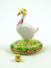 Authentic French Limoges Trinket Box Easter Goose in Hat w Removable Golden Egg