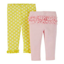 CARTER'S CHILD OF MINE 2 PANTS SET PINK & YELLOW! 0-3M INFANT BABY CLOTHES GIRL