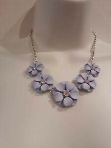 Pale Blue Flower Necklace.  New