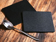Set of 6 CLASSIC Black Leatherboard COASTERS, Made In UK