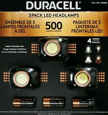 Duracell LED Headlamps 500 Lumens 3 Pack, Water Resistant, 4 Light Modes,  NEW