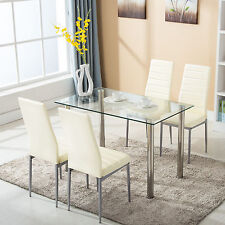 5 Piece Dining Table Set with 4 Chairs Glass Metal Kitchen Room Furniture & 5 Piece Dining Furniture Sets | eBay