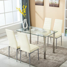 5 Piece Dining Table Set with 4 Chairs Glass Metal Kitchen Room Furniture : 4 chairs dining table sets - pezcame.com