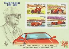 1998 Foglietto Expo mondiale Filatelia 100 Anni Nascita Ferrari MNH Italia Bf 20