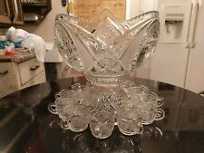 Stunningly Gorgeous Antique 12 Cup Punch Bowl With 12 matching Cups
